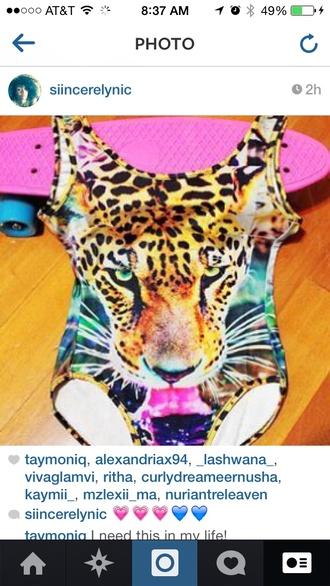 swimwear multicolor leopard bodysuit onepiece animal face print