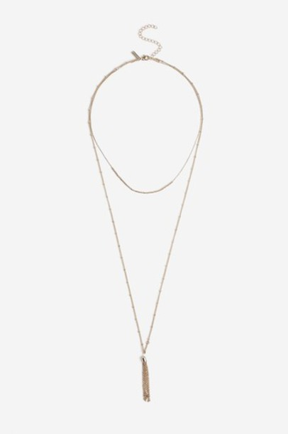 Topshop tassel necklace choker necklace gold jewels