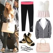 top,pink,ariana grande,bustier,american apparel,victoria's secret,comme des fuckdown,prada,shoes,pants