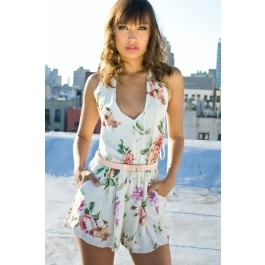 Floral v neck playsuit