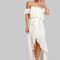 Flounce bardot sleeve high low maxi dress ivory -shein(sheinside)