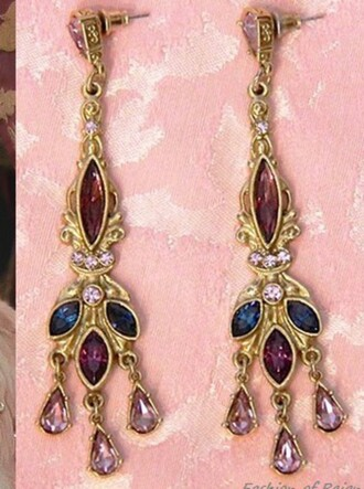 jewels droplet blue pink red gold earrings the cw love