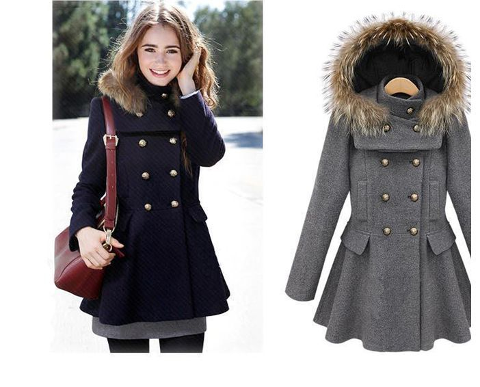 WOMENS Double-Breasted Faux Fur Hooded Wool Coat Skirted Pleated ...