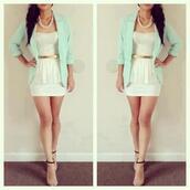 shirt,white,lace,beautiful,outfit,mint,elegant,jacket,dress,skirt,mini white skirt,shoes,t-shirt,white & mint