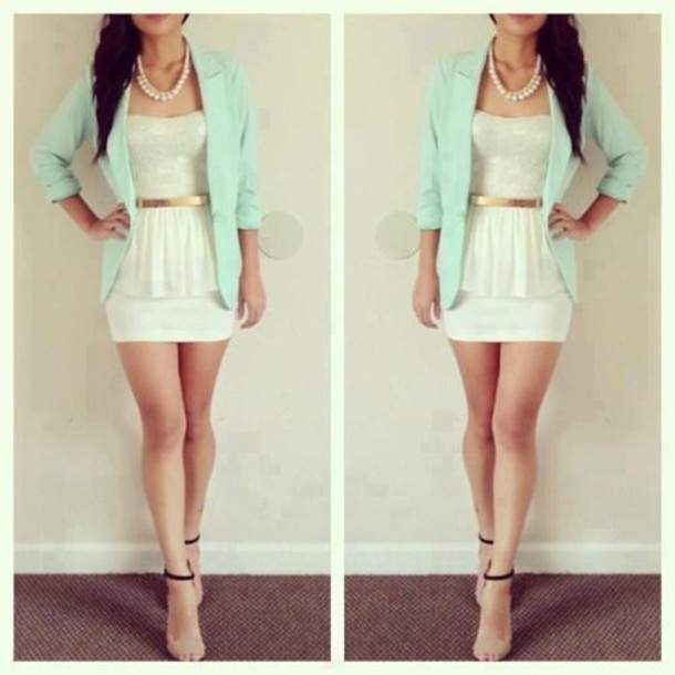 shirt white lace beautiful outfit mint elegant jacket dress white lace gold belt teal boyfriend blazer pearl necklace peplum top white mini skirt sandal heels perfect combination cute outfits spring outfits t-shirt white top blue jacket black shoes pearl cardigan light mint summer outfits cute blue dress jewels white & mint coat blazer metal belt belt