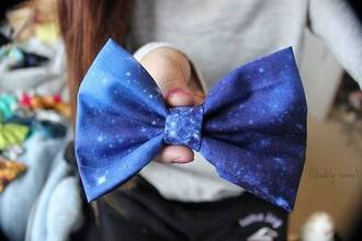 jewels bow hair bow galaxy print blue shiny purple hair petite hair accessory
