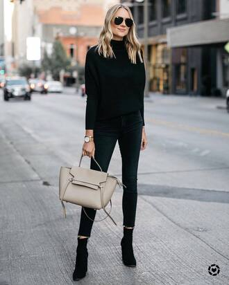 socks black sweater tumblr knit knitted sweater denim jeans black jeans bag boots ankle boots all black everything sweater