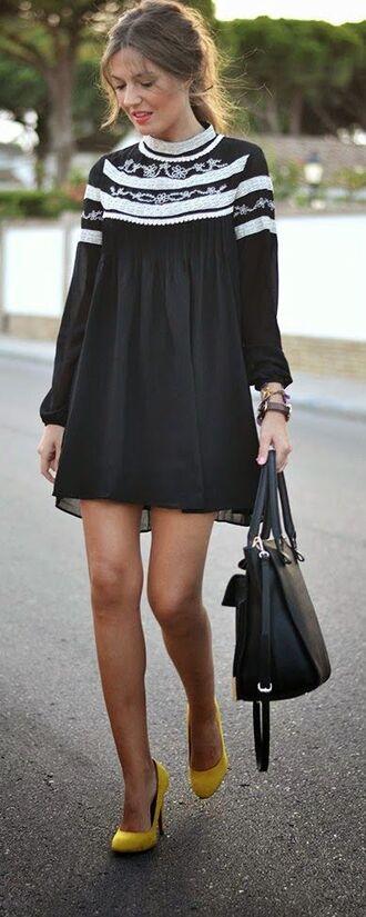 dress black dress long sleeve dress white collar flowy dress cute black white embellished dress