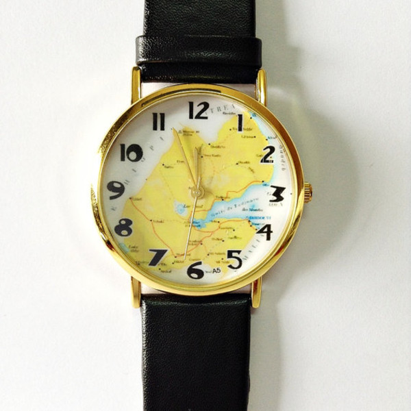 jewels map watch watch watch vintage style watch leather watch freeforme black