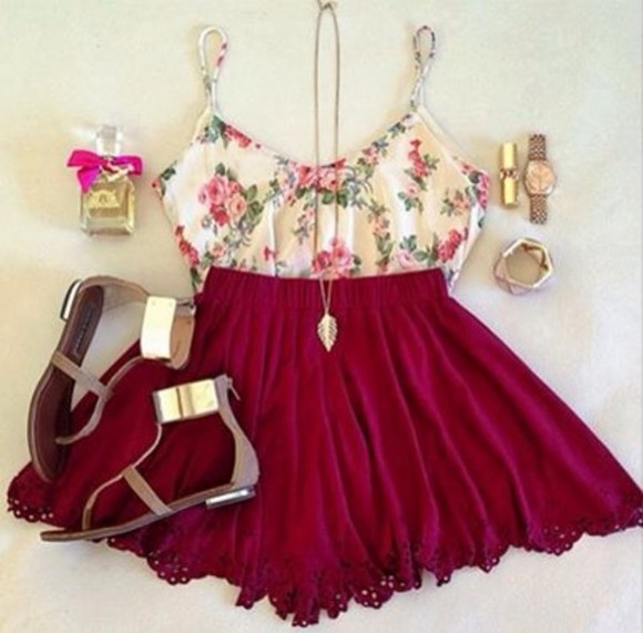 shoes red crop tops skirt tank top bordeaux mini skirt sun summer outfits floral green print white sandals jewels