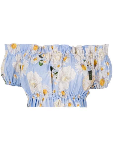 isolda top printed crop top women cotton blue