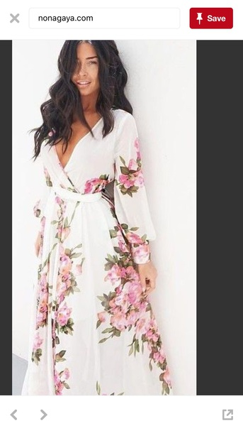 dress long sleeves floral boho  maxi dress