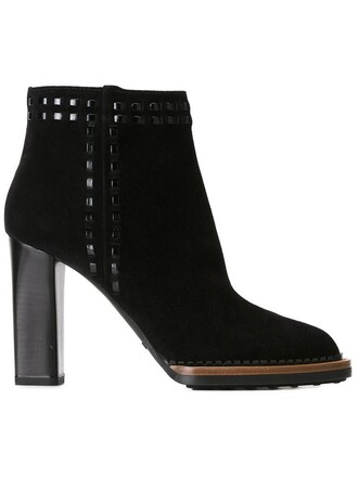 studded women boots ankle boots leather suede black shoes