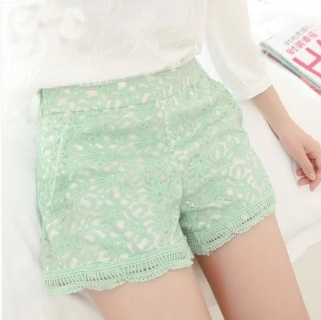 New 2014 women shorts summer lace embroidered organza high waist shorts plus size shorts women black/green/white