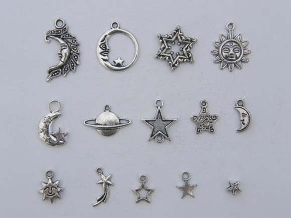 universe stars jewels necklace sun sun and moon pendant moon moon phases planet