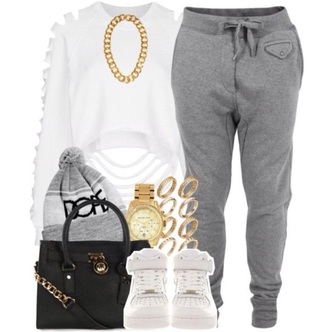pants gray joggers tank top shoes jewels hat sweater bag