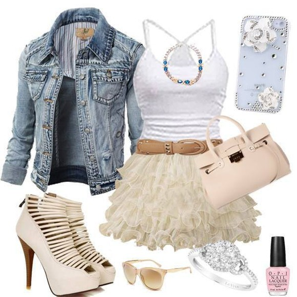 dress skirt jacket cream dress fashion jewels bag shoes jean jacket whole outfit..