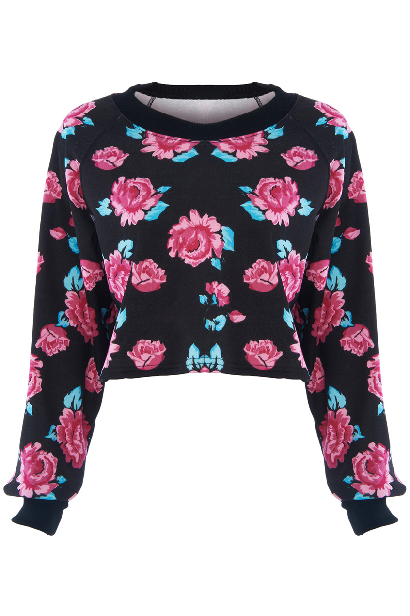 ROMWE | Red Roses Print Black Sweatshirt, The Latest Street Fashion