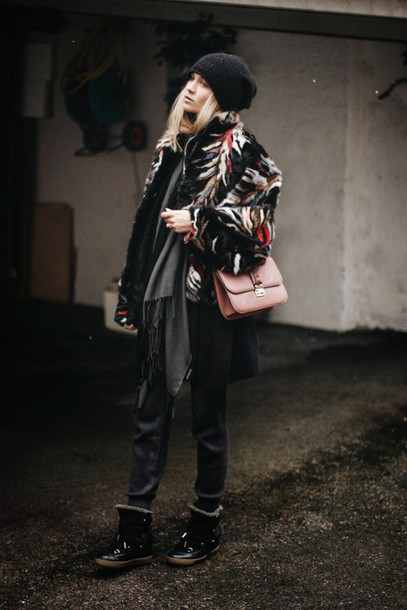 en vogue coop blogger hat coat scarf sweater pants shoes bag
