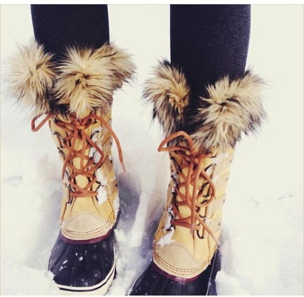Shoes Fur Boots Fluffy Furry Boots White Black