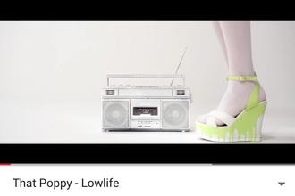 shoes poppy heels green wedges slime that poppy thatpoppy white dripping pastel