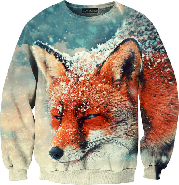 sweater jumper printed sweater fox winter sweater animal face print
