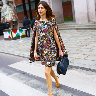 dress fashion alexa chung cape spring summer dress summer cool outfit cute outfits stylish fashionista lovely love patterned dress