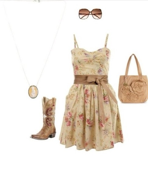 dress sundress floral country boots cute country girl shoes