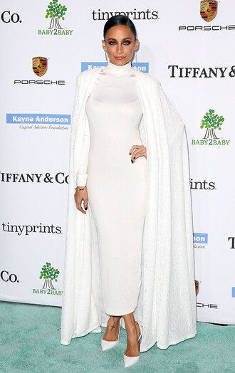 coat cape nicole richie white white dress
