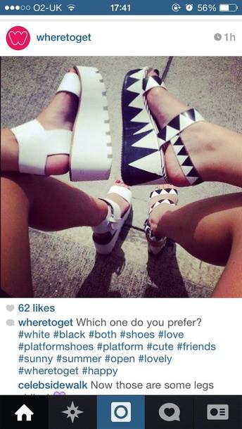 shoes platform shoes flatforms monochrome black white sandals flats