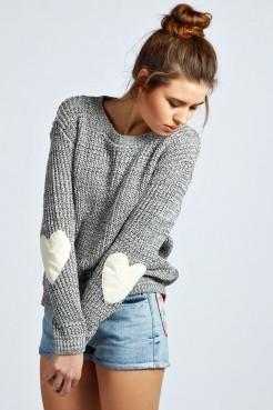 Harper Pullover Mit Ellenbogenflicken In Herzform - Pullover - Strickwaren - Kleidung