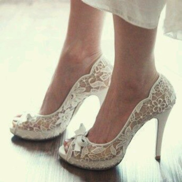 shoes lace white heels pumps