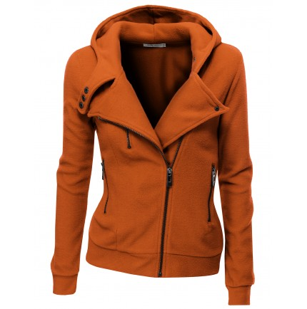 Womens Fleece Zip-up Hoodie with Zipper Point (PWD005) Doublju