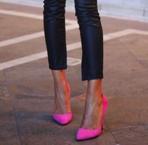 shoes pink pink high heels fluo