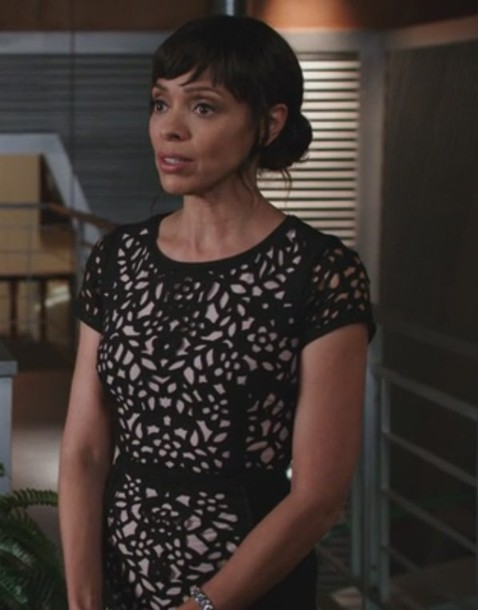 dress,black,laser cut,tamara taylor,bones tv show,dr. camille saroyan