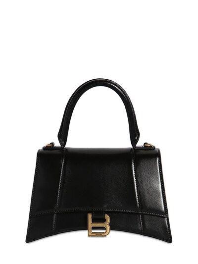 BALENCIAGA Sm Hourglass Smooth Leather Bag Black