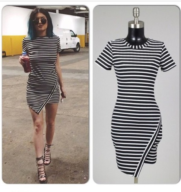 kylie jenner dress striped dress stripes ebonylace.storenvy ebonylacefashion www.ebonylace.net