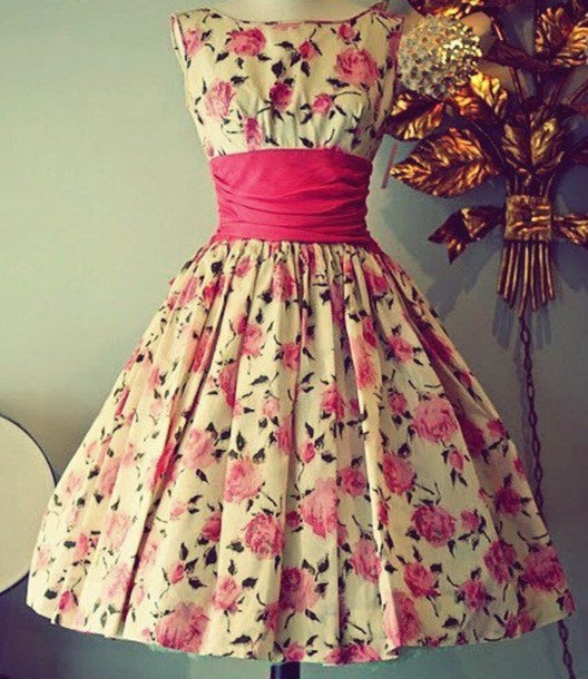 dress white white dress floral dress flowers floral dress pink 50s style