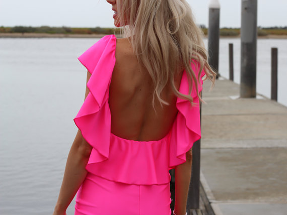 NEON PINK Low Open Back Ruffle Mini Dress By designer by JustynaG