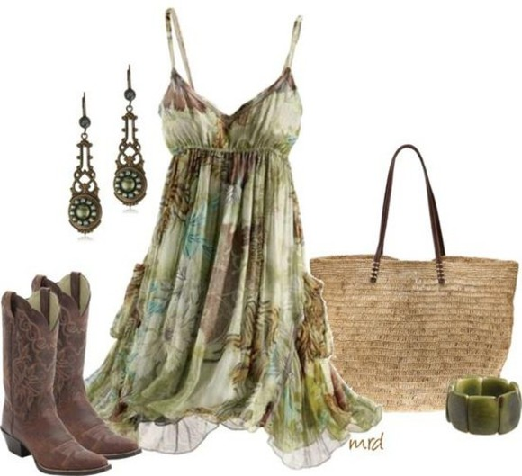 western shoes dress flowy cowgirl country country style mint green dress