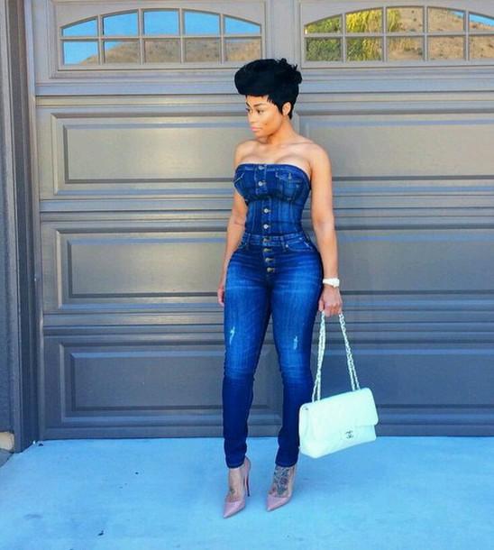 jumpsuit blac chyna blue blue jeans romper denim jeans denim romper tube top white purse white purses large purse african american denim jumpsuit de??n onep?ece j??p???? jeans