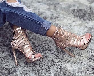 shoes rose gold high heels heels strappy heels high heel sandals