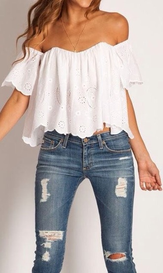 top white off the shoulder blouse shirt boho bohemian festival fashion festival top cute