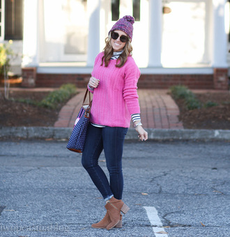 twopeasinablog blogger sweater jeans hat bag sunglasses shoes jewels pink sweater beanie skinny jeans ankle boots winter outfits