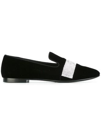embellished slippers black shoes