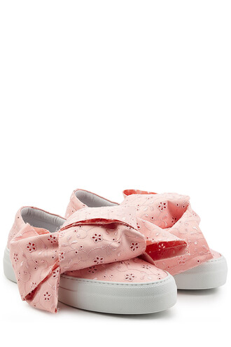 sneakers. embroidered sneakers rose shoes