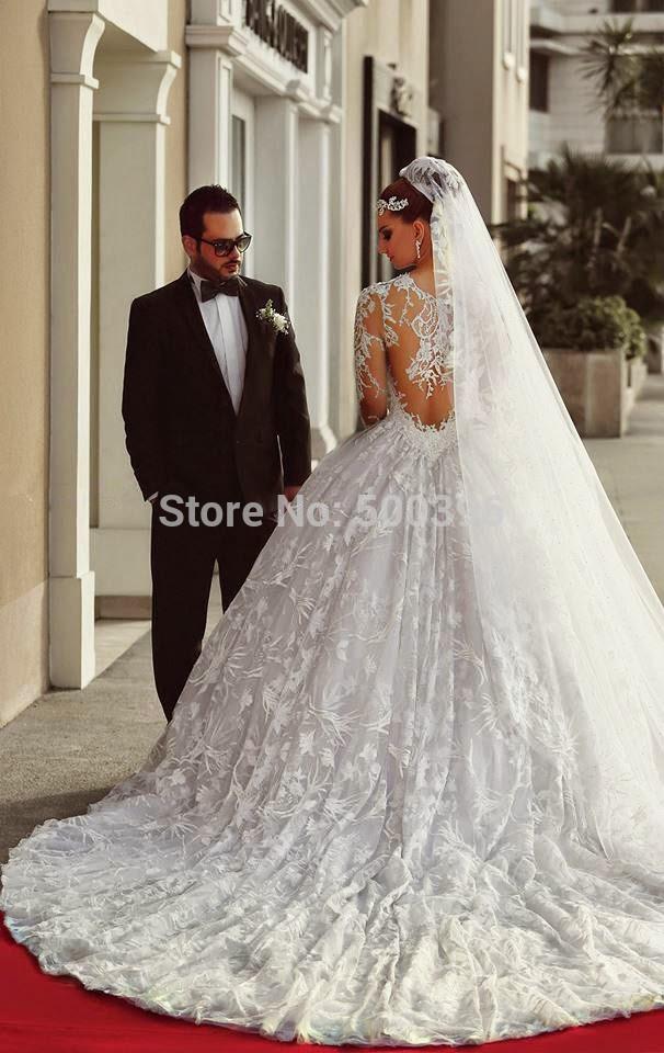 Aliexpress.com : Buy Noble Lace Long Sleeve Wedding Dresses 2015 Vestidos  De Noiva Renda Appliques Church Castle Bridal Gown Elegant Wedding Dress  From ...