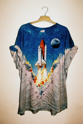 t-shirt space blue white blastoff moon teenagers grunge graphic tee rocket orange soft grunge