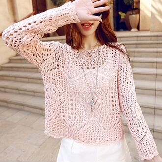 sweater top crochet pink cute fall outfits fashion style asian fashion outfit