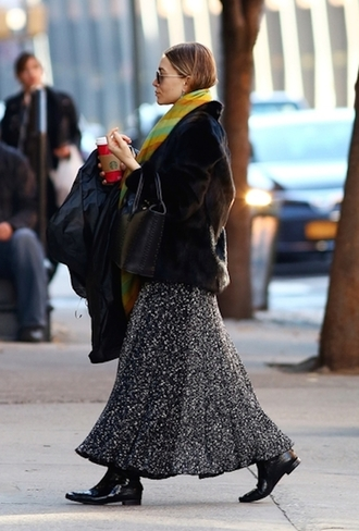 jacket bag blogger scarf olsen sisters maxi skirt fur